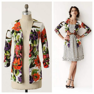 Anthropologie Ambrosial Floral Open Cardigan Small